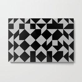 Minimal Geometric Pattern - Black and White Metal Print