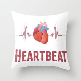Heartbeat Heart Muscle Life Blood EKG Doctor Gift Throw Pillow