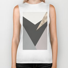 Abstract geometrical faux gold black gray triangles pattern Biker Tank