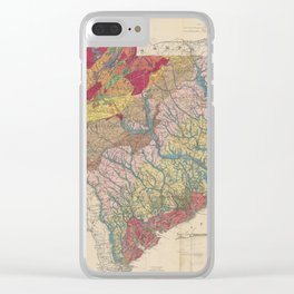 Vintage Geological Map of South Carolina (1883) Clear iPhone Case
