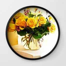 Bouquet of Roses on Pedestal Wall Clock