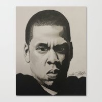 jay z Canvas Prints featuring Jay Z by Leonidas The King