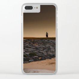 Tilt Shift Seaside Tree, Beach, Rocks, Man Clear iPhone Case