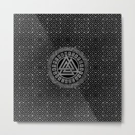 Silver Metallic Valknut Symbol on Celtic Pattern Metal Print