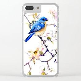 Bluebird and Dogwood, bird and flowers spring colors spring bird songbird design Clear iPhone Case