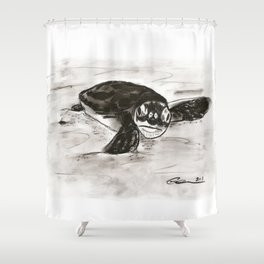 Baby Turtle Hatchling (Charcoal) Shower Curtain