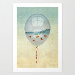 balloon fish o2, freedom in a bubble Art Print