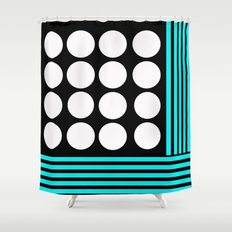 Desing pattern black and white followed by Tuerkies Shower Curtain