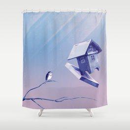 Freezing Bird...house Shower Curtain