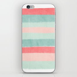 Stripes painted coral minimal mint teal bright southern charleston decor colors iPhone Skin