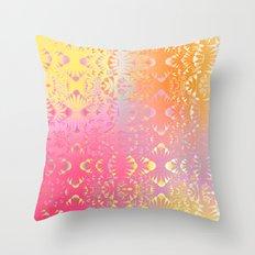 Happy Hippie Pattern (orange) Throw Pillow