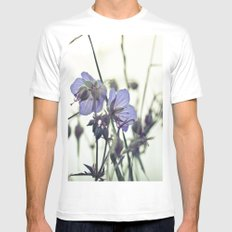 Sunlit meadow Crane's-bill MEDIUM White Mens Fitted Tee