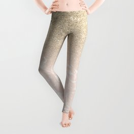 Modern champagne glitter ombre blush pink marble pattern Leggings