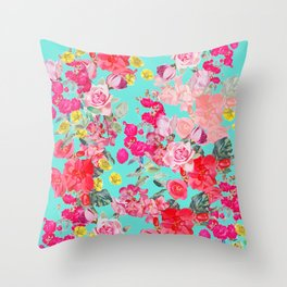 Bright Turquoise/Teal  Antique inspired Floral Print With Hot pink, baby Pink, Coral and Yellow Throw Pillow
