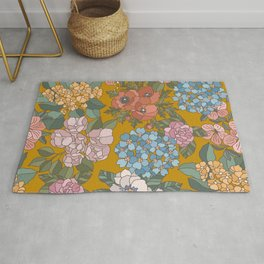 Feminine floral Cut Out Flowers and Leaves VIII Rug