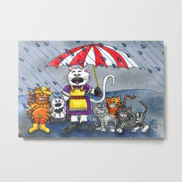 Cats on a Rainy Day Metal Print