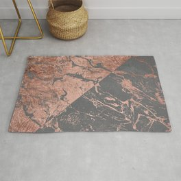 Modern rose gold marble inverted color block grey cement concrete Rug