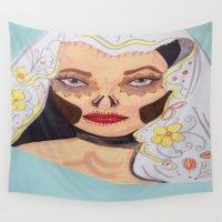 dia de los muertos Wall Tapestries featuring Dia De Los Muertos by AlienHobo51