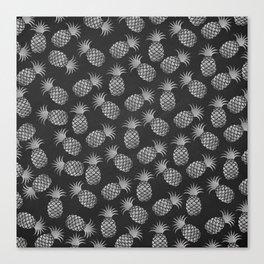 Tropical modern black gray pineapple fruit pattern Canvas Print
