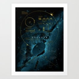 Infographic Variant - Voyager and the Golden Record - Space   Science   Sagan Art Print