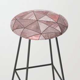 Soft Pink Coral Glamour Gemstone Triangles Bar Stool