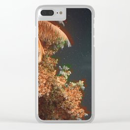 Seychellian palmtrees and the Milky Way Clear iPhone Case