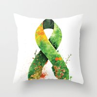 stickers Throw Pillows featuring Nature Ribbon by ErDavid