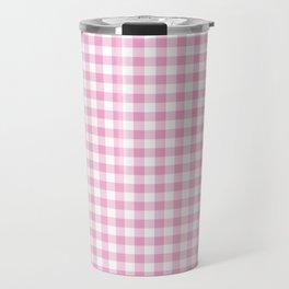 Pink Gingham Check Pattern Travel Mug
