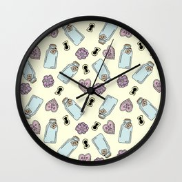 Eat Me, Drink Me - Yellow Wall Clock