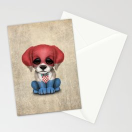 Cute Puppy Dog with flag of Croatia Stationery Cards