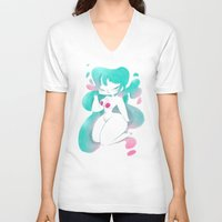 pinup V-neck T-shirts featuring Blue pinup by MissPaty