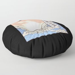The Wave Japan Aesthetic Font Text Floor Pillow