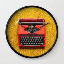 Red Portable Typewriter Wall Clock
