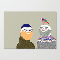 Friends and Bird. People illustration, funny, beard art, beard illustration, people, Canvas Print