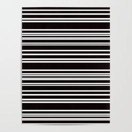 Black and White Multi Horizontal Stripes Poster