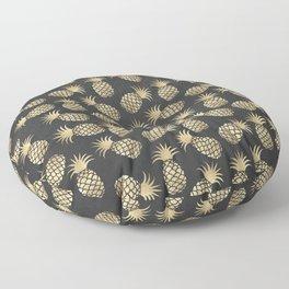 Modern chalk black elegant faux gold pineapple pattern Floor Pillow
