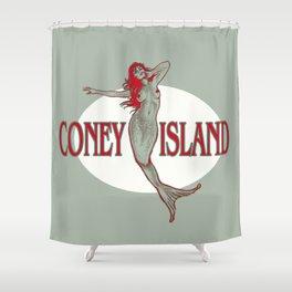 Coney Island Mermaid Shower Curtain