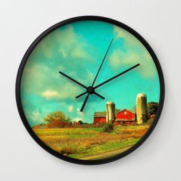Red Barn, Blue Sky Wall Clock