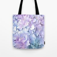 pastel Tote Bags featuring Soft Pastel Hydrangea by Judy Palkimas