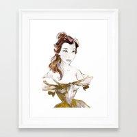 belle Framed Art Prints featuring Belle by waterandinkprints
