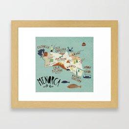 Menorca Illustrated Map Framed Art Print