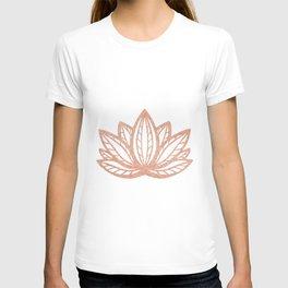 Lotus flower outline tattoo, Rose gold foil boho chic floral design T-shirt