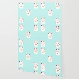 Lucky happy Japanese cat pattern Wallpaper