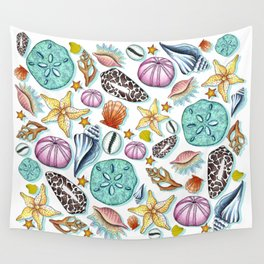 Illustrated Seashell Pattern Wall Tapestry