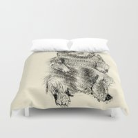 beaver Duvet Covers featuring Beaver by Amy Veried