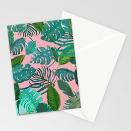 pinky tropical leaves Stationery Cards