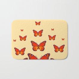 ORANGE MONARCH BUTTERFLIES CREAMY YELLOW Bath Mat