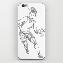 Female Basketball Player Doodle Art iPhone Skin