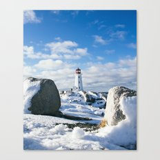 Peggy's Cove Lighthouse in winter Canvas Print