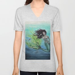 Calypso Nude Mermaid Underwater Unisex V-Neck